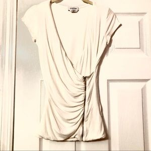 Bebe White Faux wrap, Low cut zip up front detail
